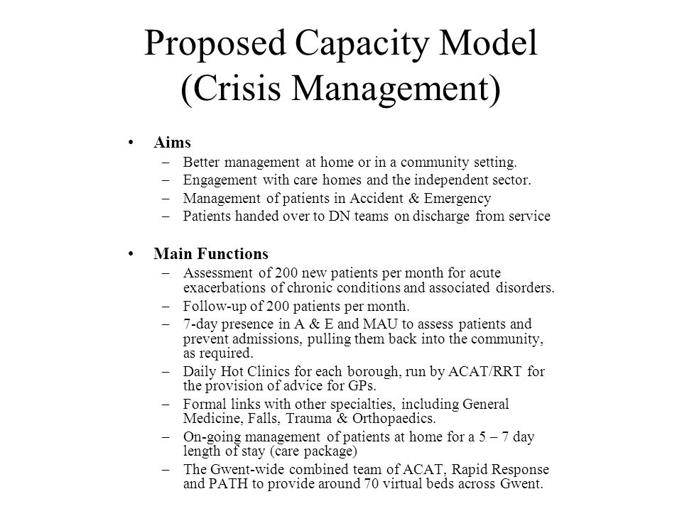 Proposed Capacity Model (Crisis Management)