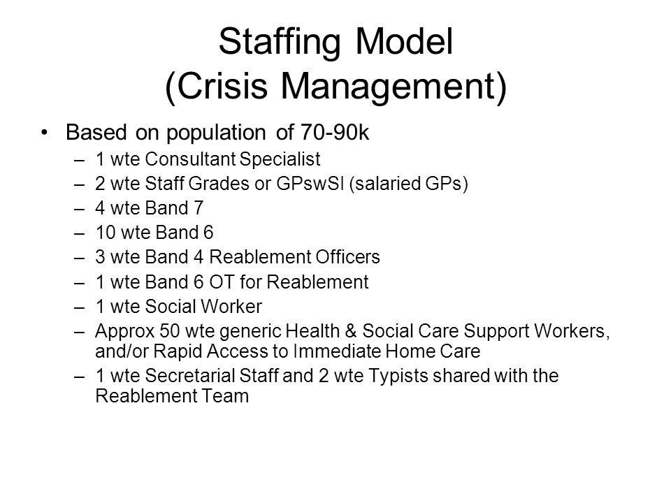 Staffing Model (Crisis Management)