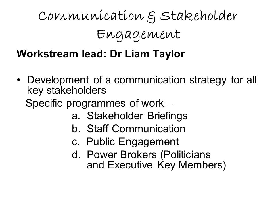 Communication & Stakeholder Engagement
