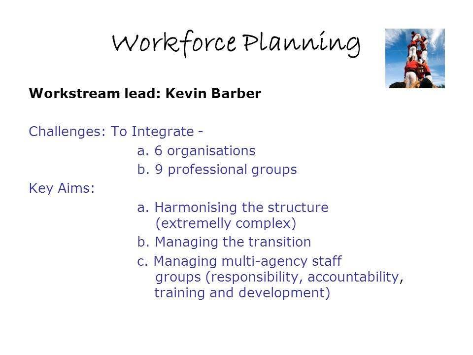 Workforce Planning Workstream lead: Kevin Barber