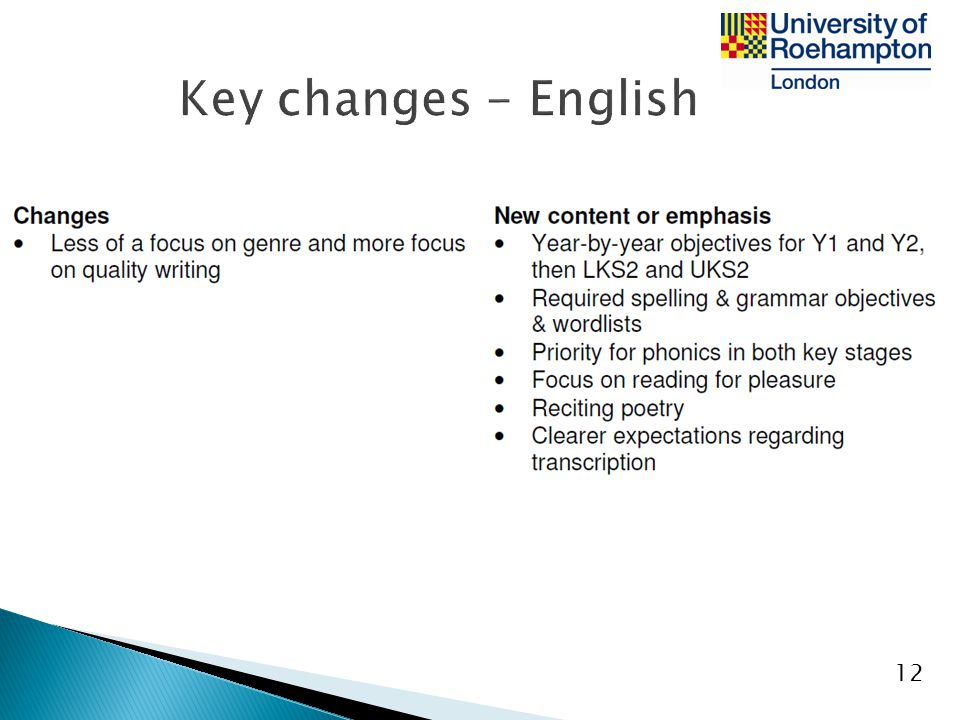 Key changes - English