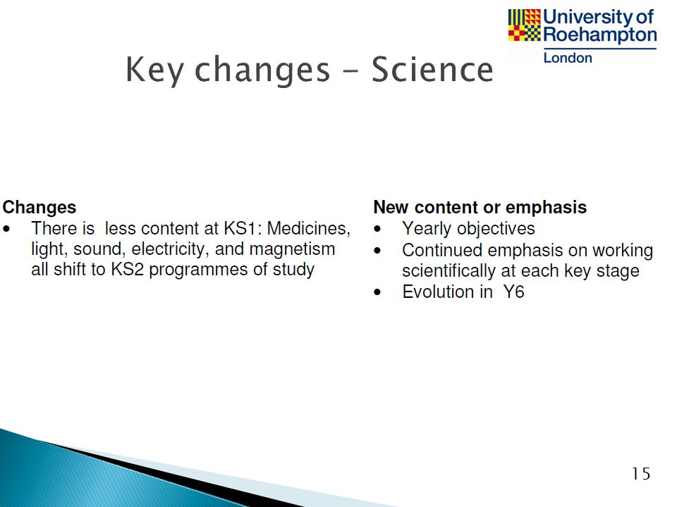Key changes - Science