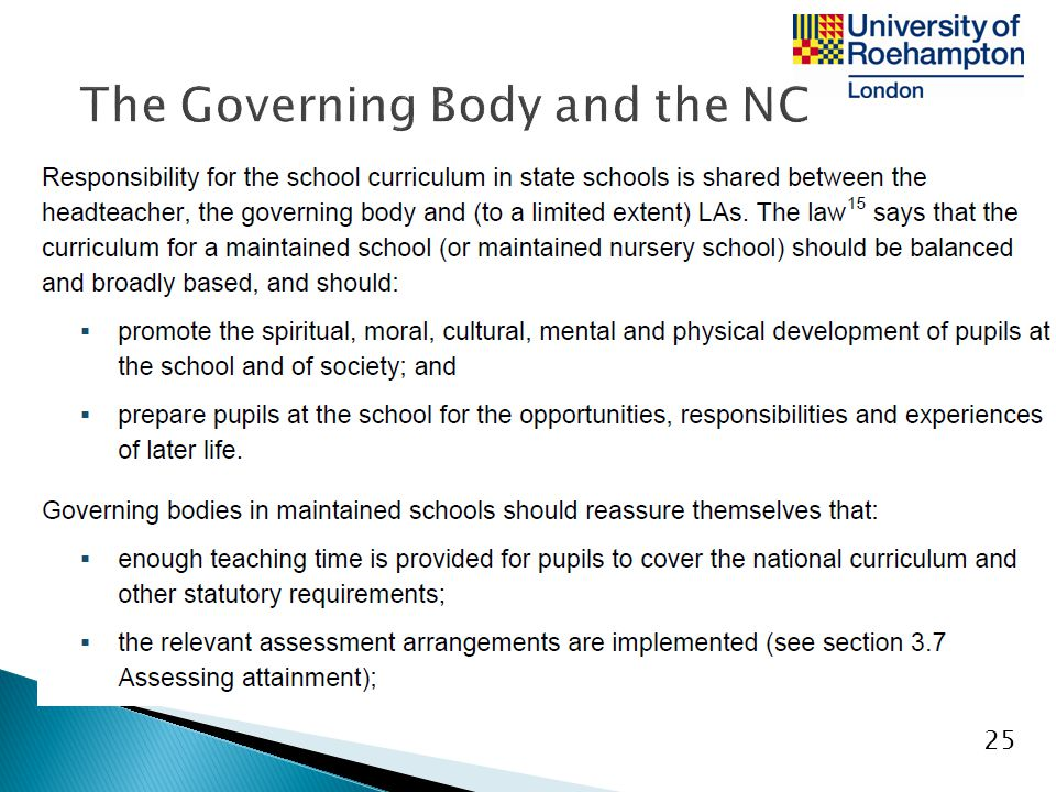 The Governing Body and the NC