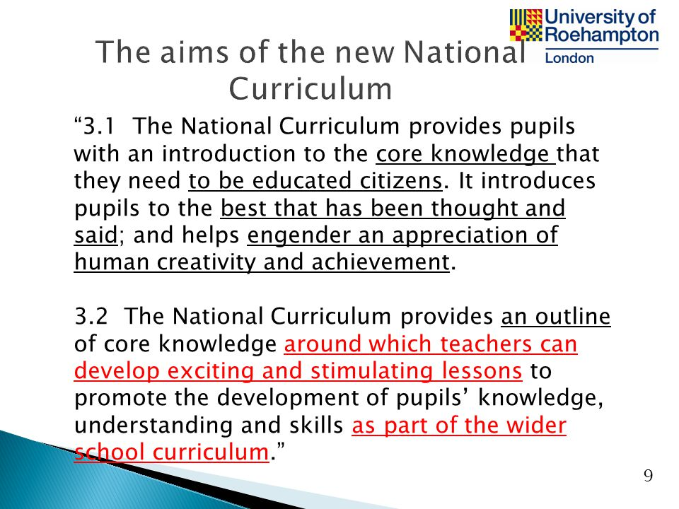 The aims of the new National Curriculum