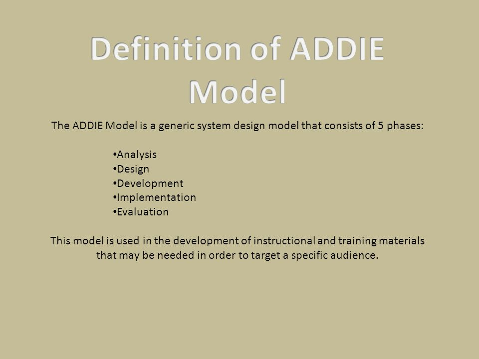 Definition of ADDIE Model