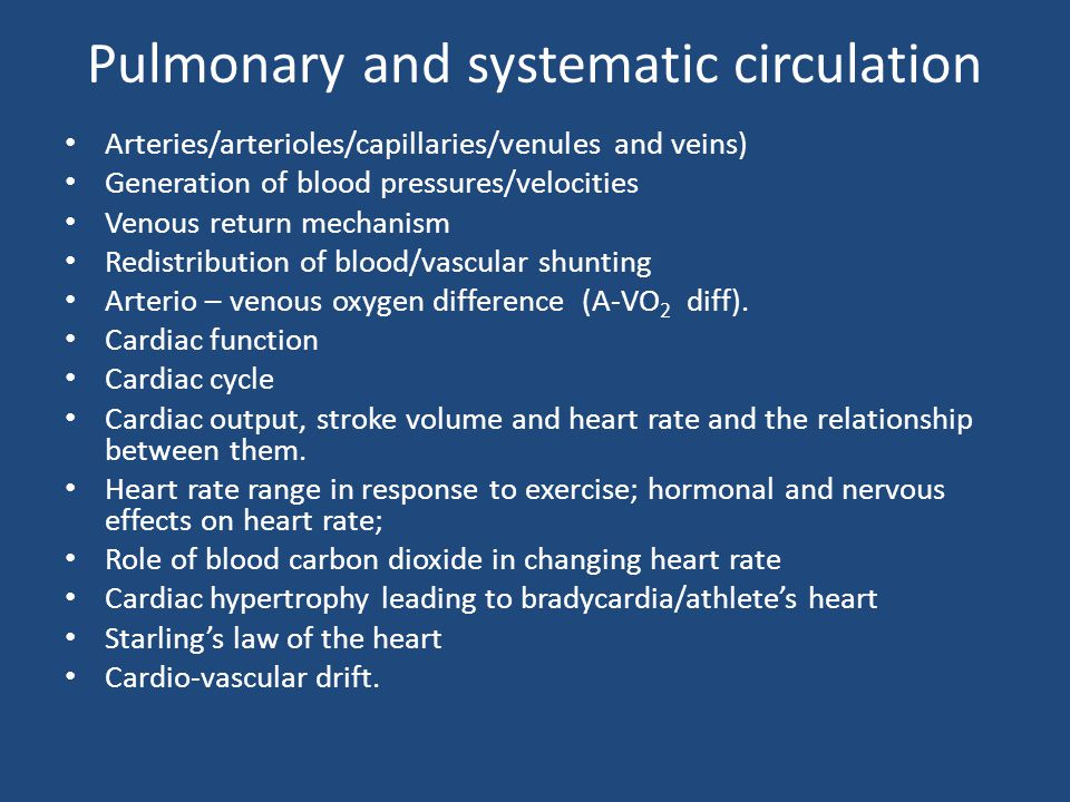 Pulmonary and systematic circulation
