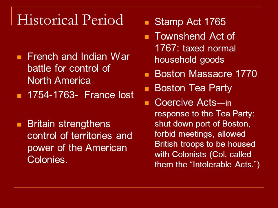 Historical Period Stamp Act 1765