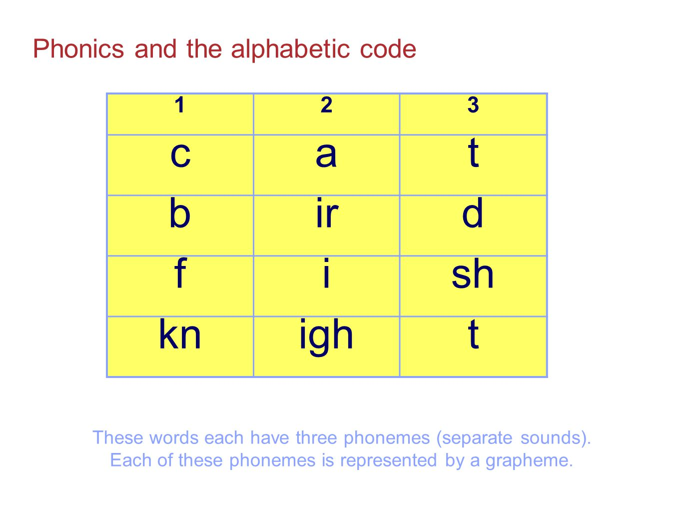 c a t b ir d f i sh kn igh Phonics and the alphabetic code 1 2 3