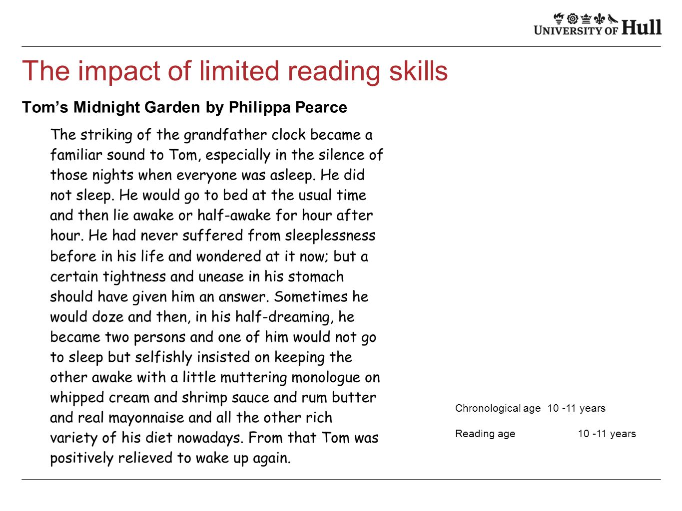 The impact of limited reading skills