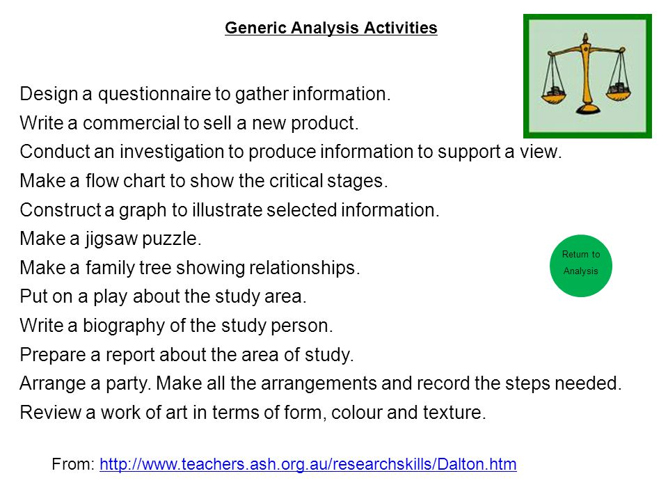 Generic Analysis Activities