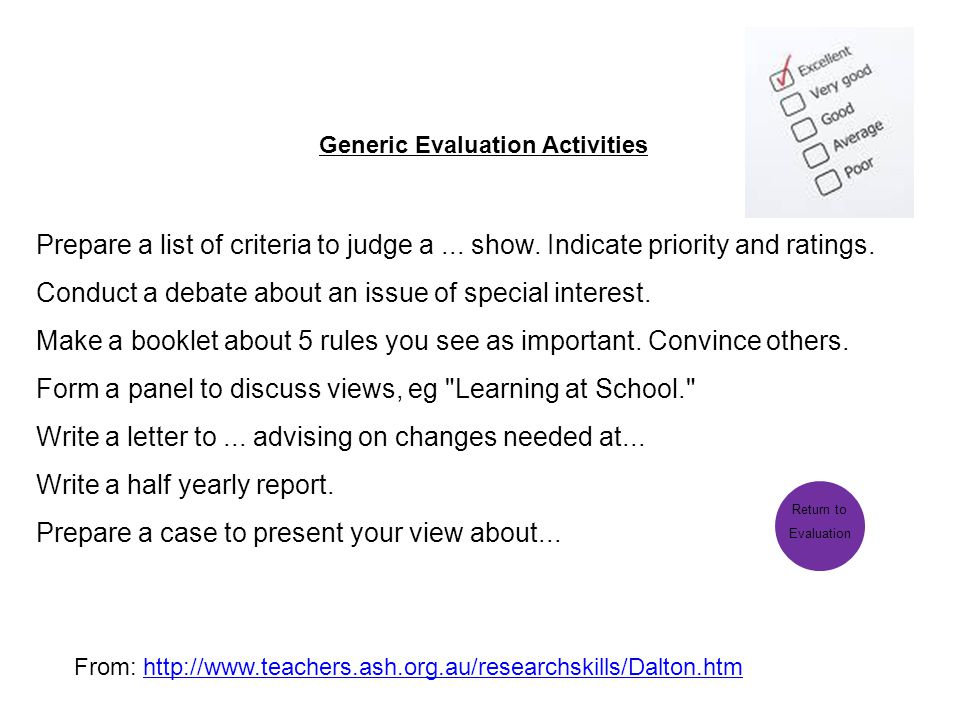 Generic Evaluation Activities