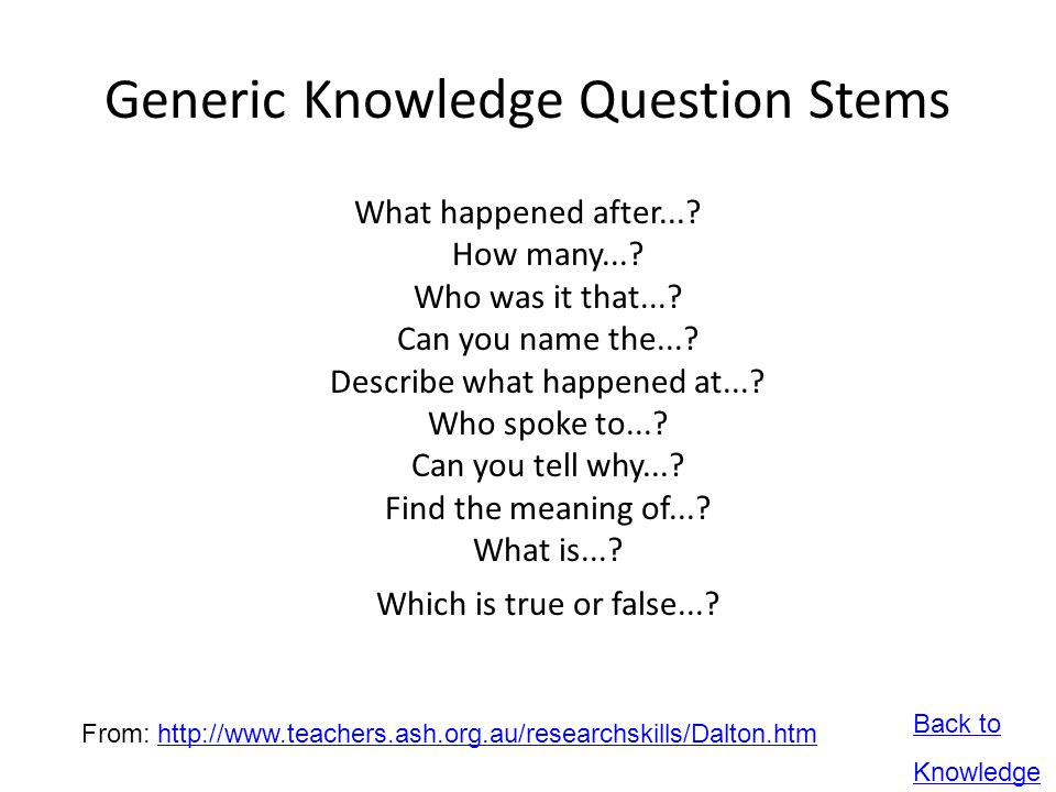 Generic Knowledge Question Stems