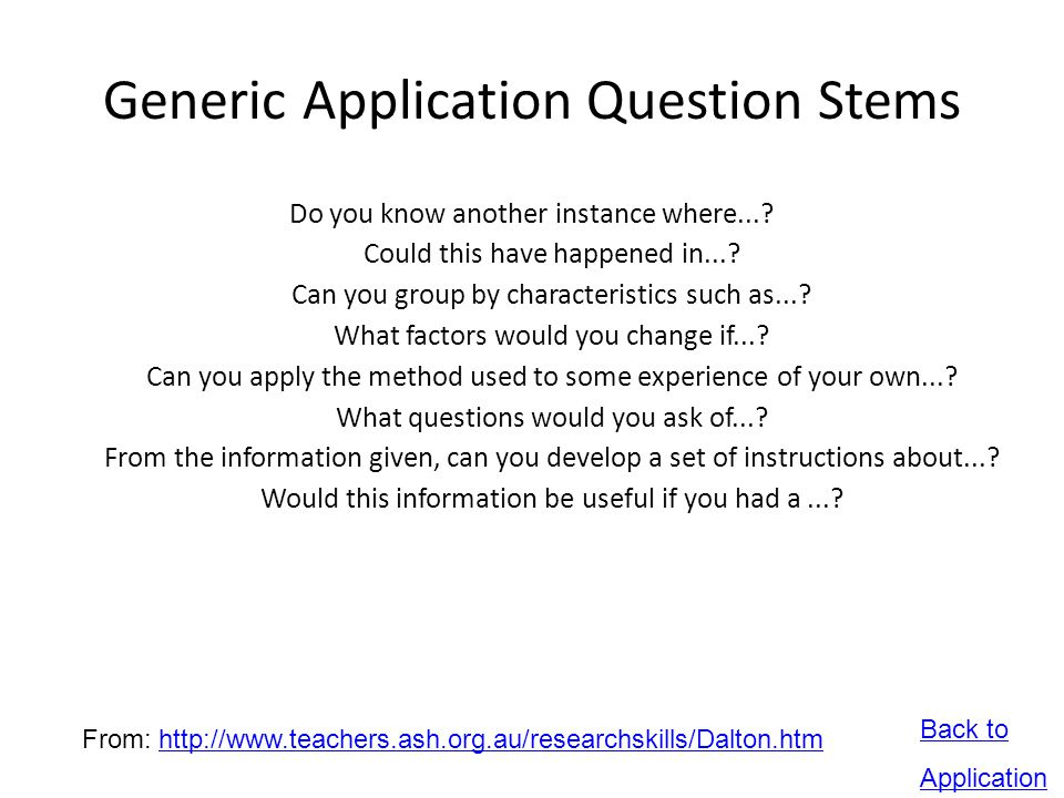 Generic Application Question Stems