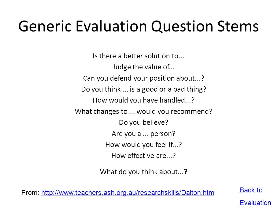 Generic Evaluation Question Stems