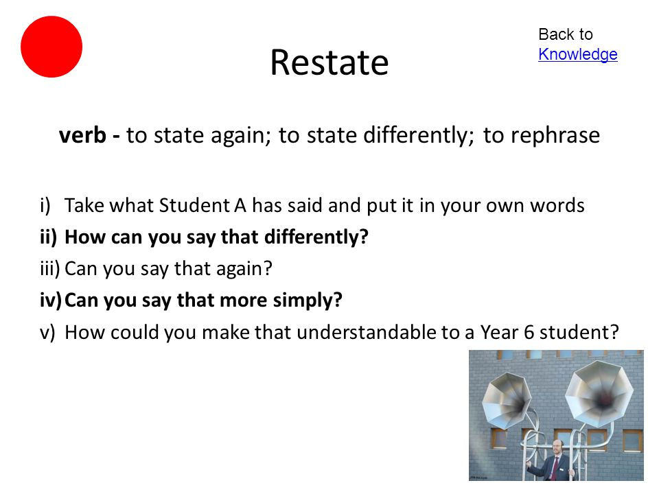 verb - to state again; to state differently; to rephrase