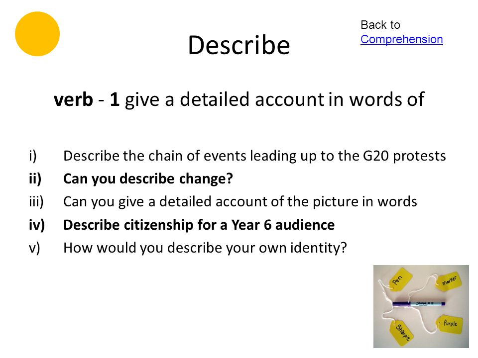 verb - 1 give a detailed account in words of