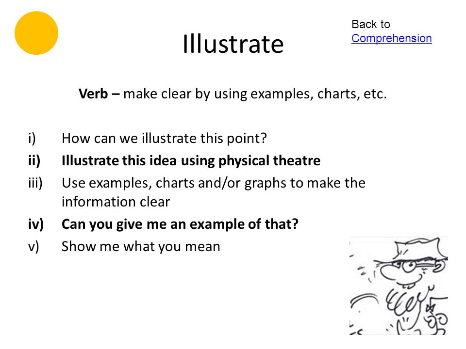 Verb – make clear by using examples, charts, etc.