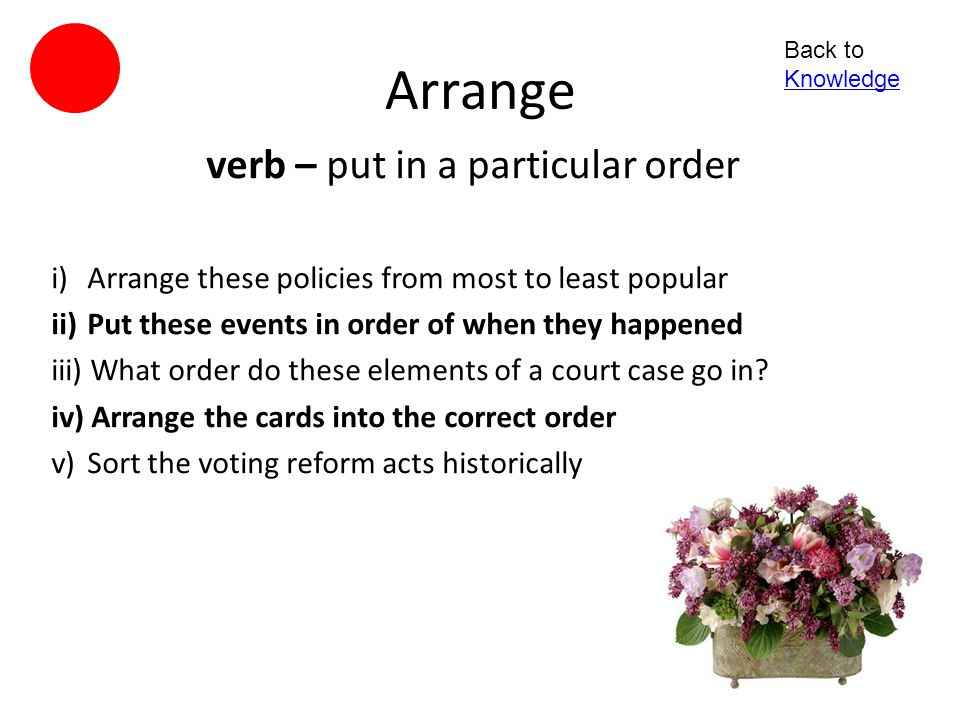 verb – put in a particular order