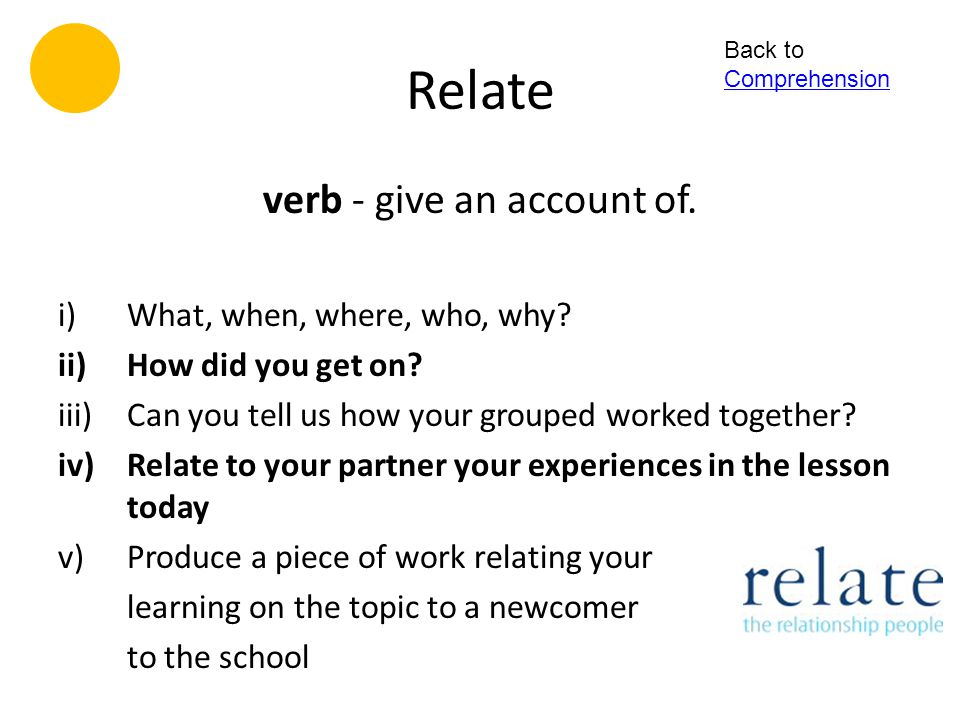 verb - give an account of.