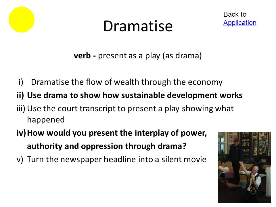 verb - present as a play (as drama)
