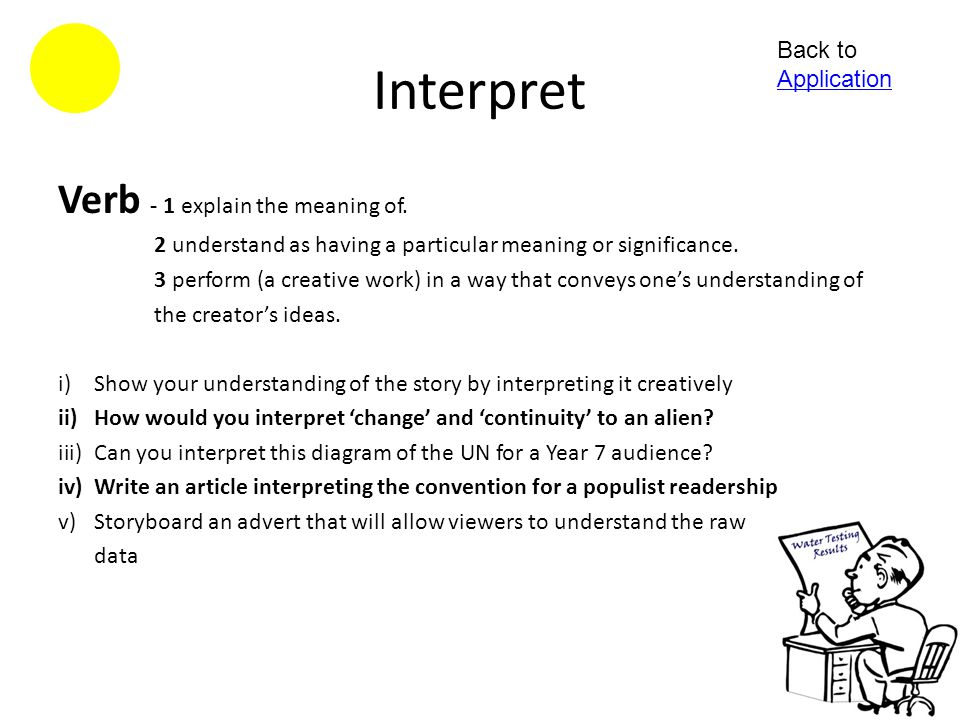 Interpret Verb - 1 explain the meaning of. Back to Application
