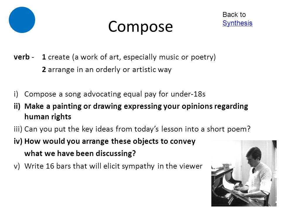 Compose verb - 1 create (a work of art, especially music or poetry)