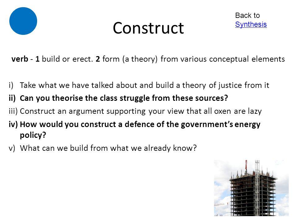 Construct Back to Synthesis. verb - 1 build or erect. 2 form (a theory) from various conceptual elements.