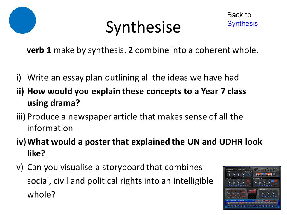 verb 1 make by synthesis. 2 combine into a coherent whole.