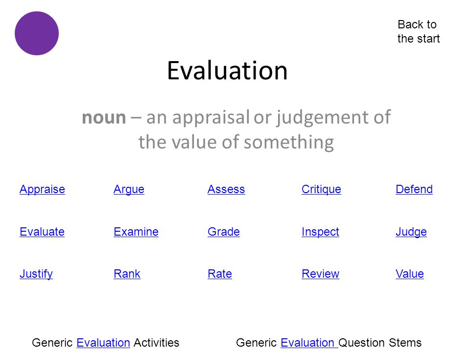 noun – an appraisal or judgement of the value of something