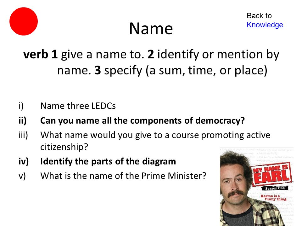 Name Back to Knowledge. verb 1 give a name to. 2 identify or mention by name. 3 specify (a sum, time, or place)