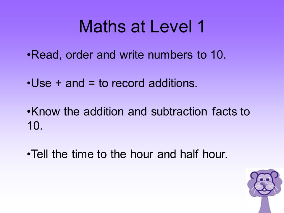 Maths at Level 1 Read, order and write numbers to 10.