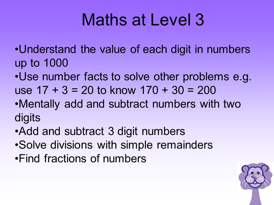 Maths at Level 3 Understand the value of each digit in numbers up to 1000.