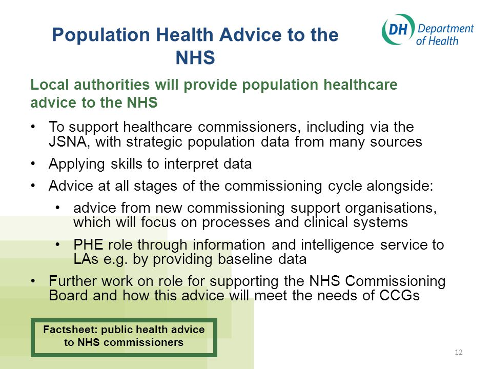 Population Health Advice to the NHS