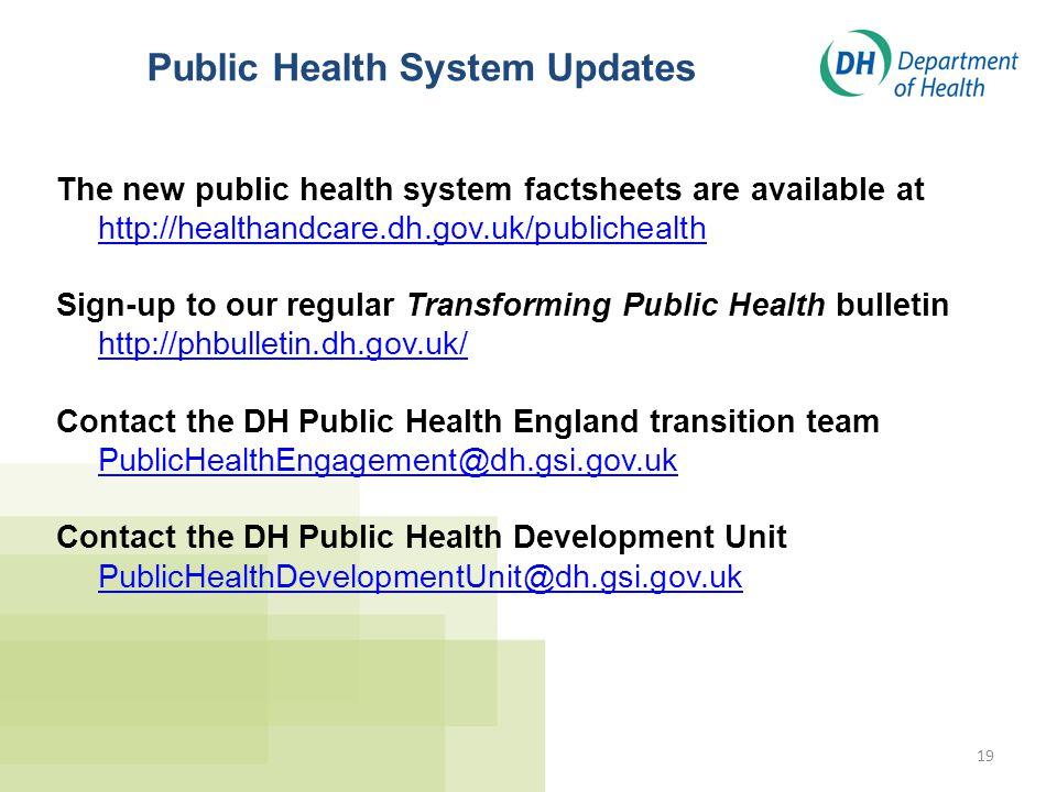 Public Health System Updates