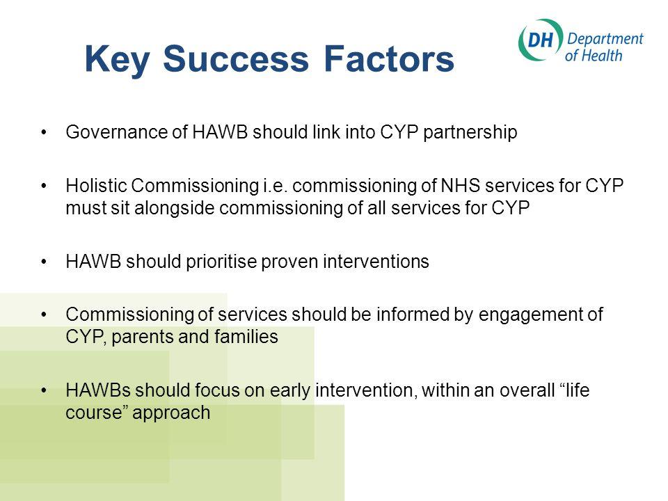 Key Success Factors Governance of HAWB should link into CYP partnership.