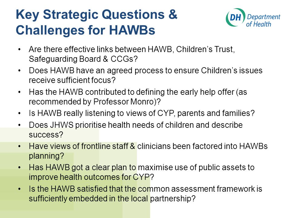 Key Strategic Questions & Challenges for HAWBs