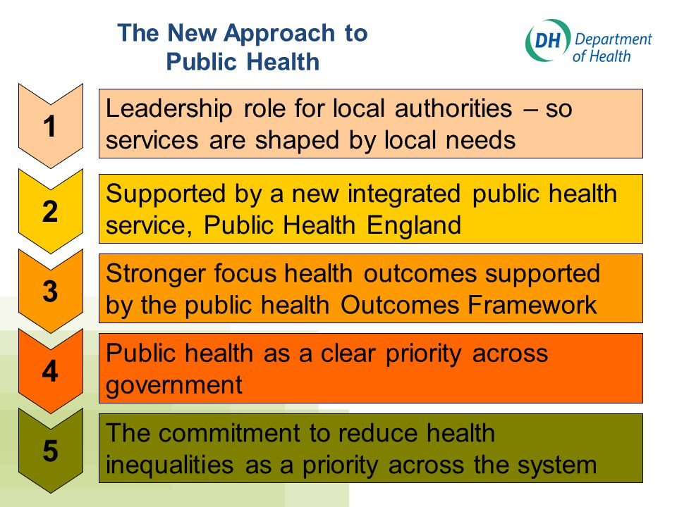 The New Approach to Public Health. Leadership role for local authorities – so services are shaped by local needs.
