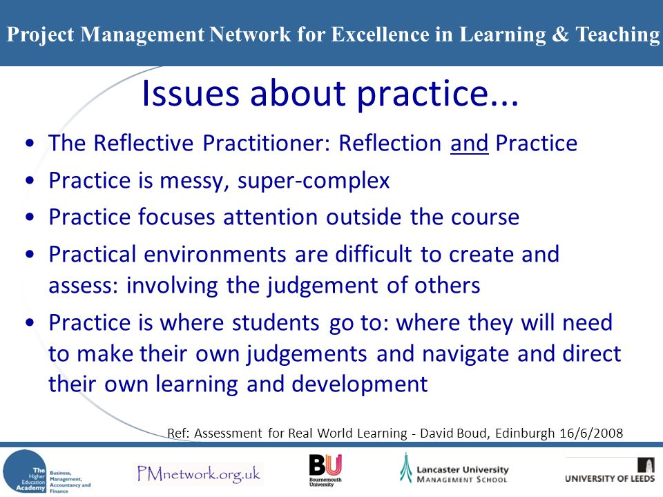 Issues about practice... The Reflective Practitioner: Reflection and Practice. Practice is messy, super-complex.