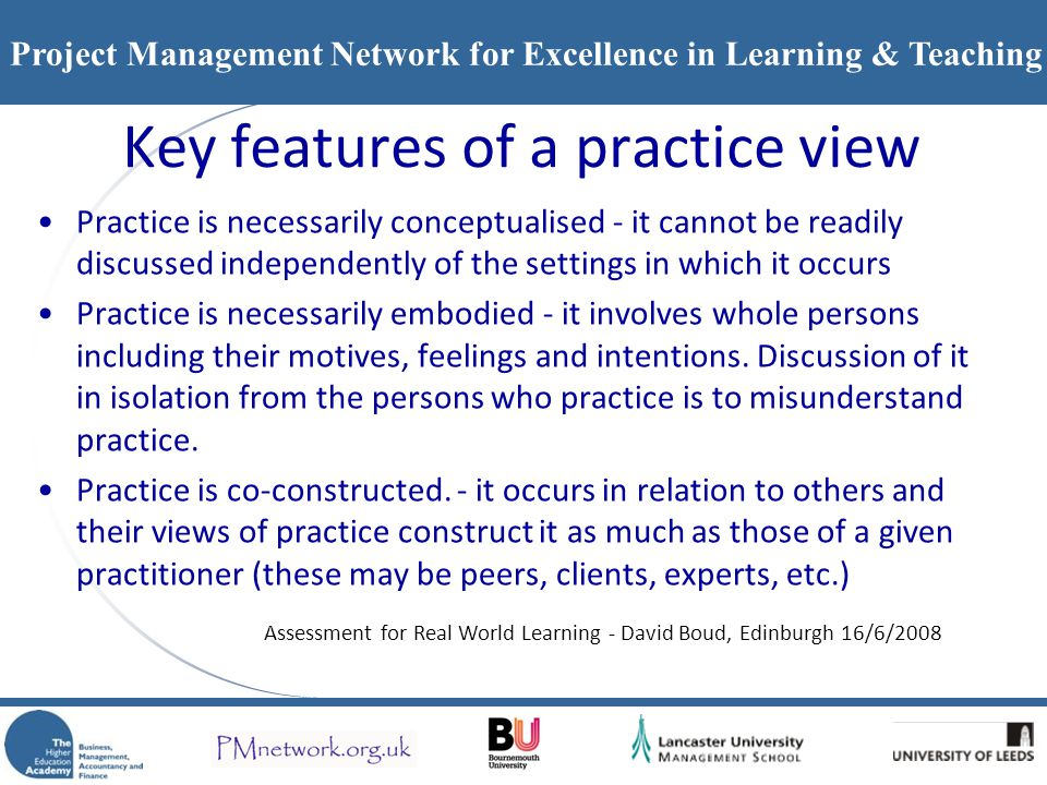 Key features of a practice view