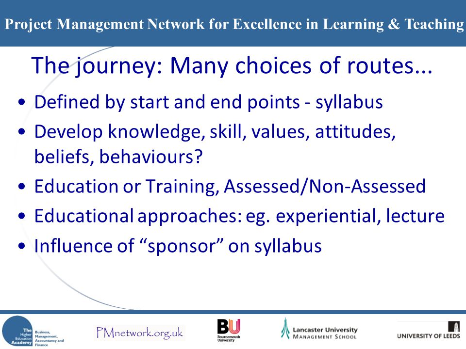 The journey: Many choices of routes...
