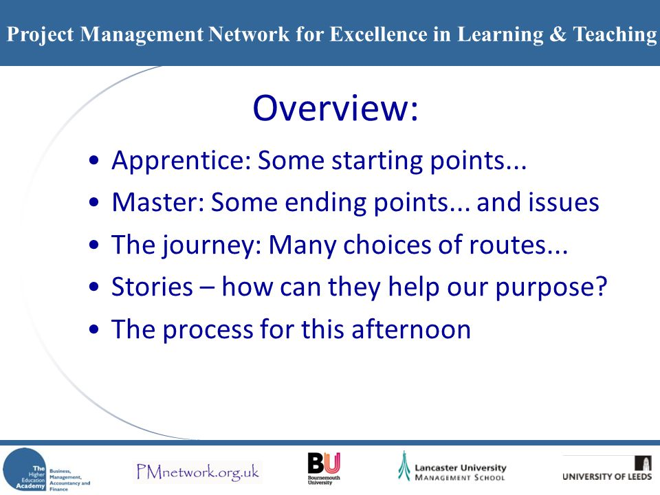 Overview: Apprentice: Some starting points...