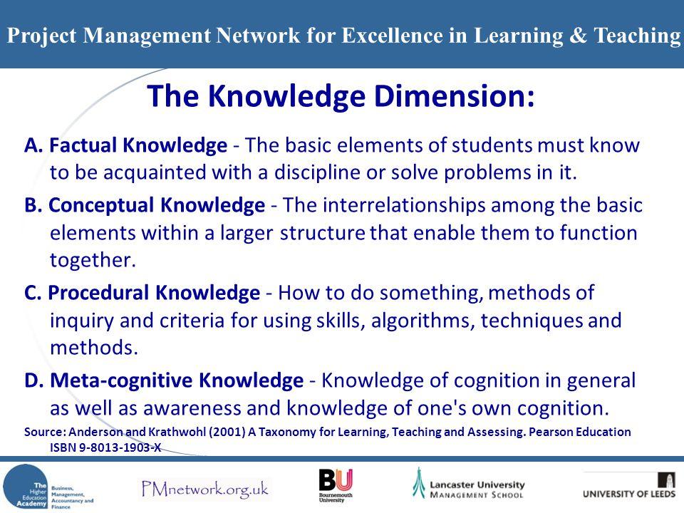 The Knowledge Dimension: