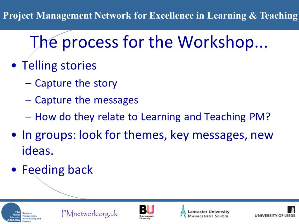 The process for the Workshop...