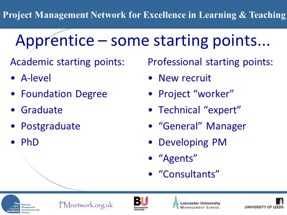 Apprentice – some starting points...