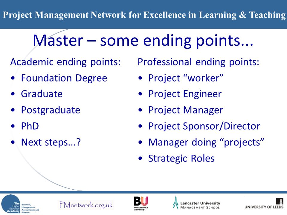 Master – some ending points...
