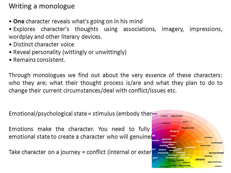 Writing a monologue One character reveals what s going on in his mind