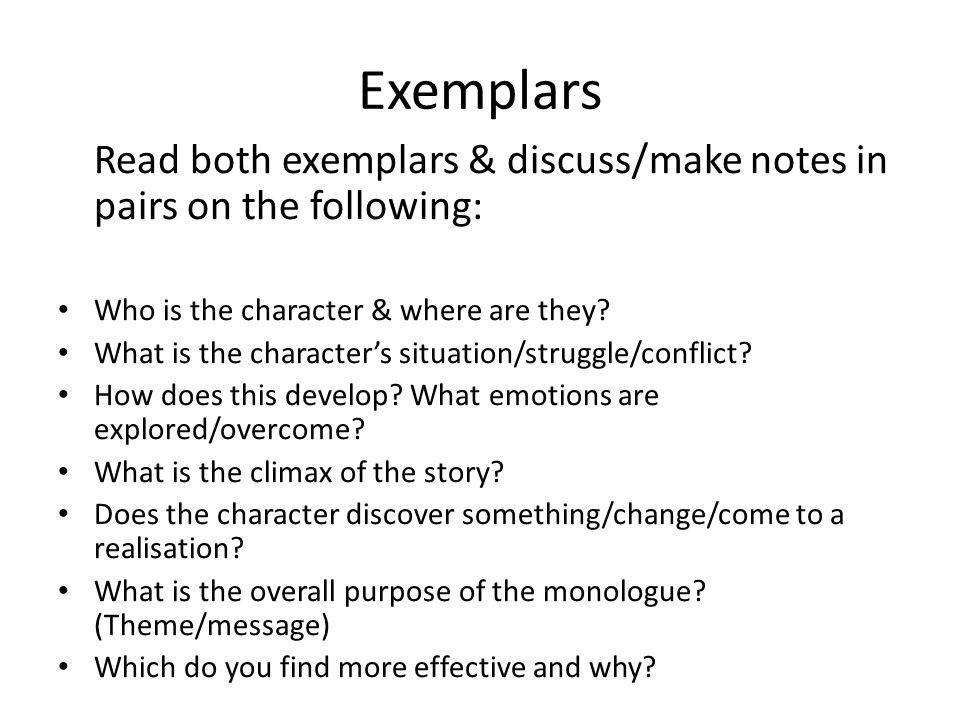 Exemplars Read both exemplars & discuss/make notes in pairs on the following: Who is the character & where are they