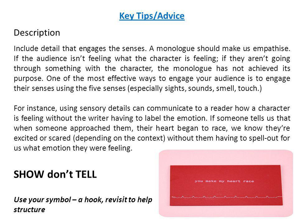 SHOW don't TELL Key Tips/Advice Description