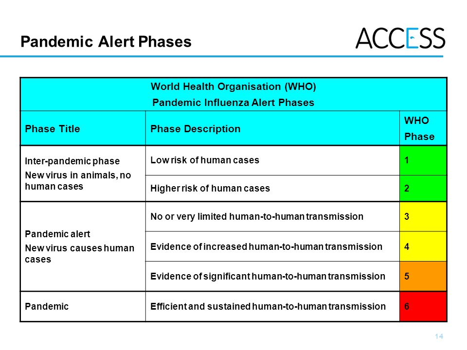 World Health Organisation (WHO) Pandemic Influenza Alert Phases