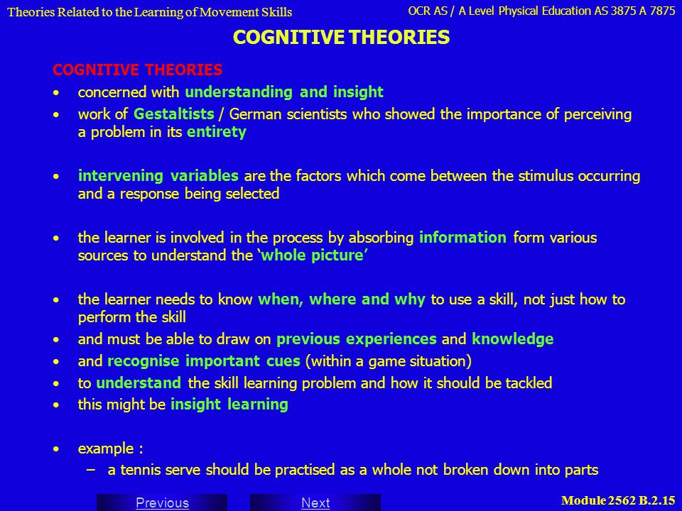 COGNITIVE THEORIES COGNITIVE THEORIES